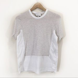 3.1 Phillip Lim Heather Grey Cotton Hem Blouse